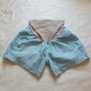 Indigo Blue Teal Maternity Shorts - size XL